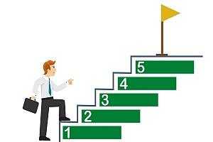 cartoon man climbing up stairs symbolizing a measurable addiction goal