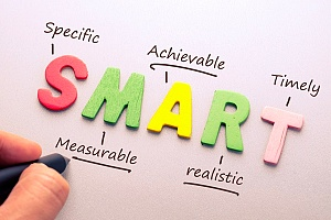the smart acronym spelled out on paper to be used with addiction recovery