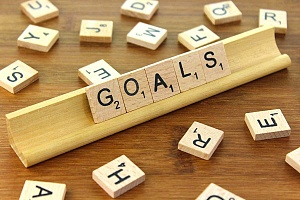 the word goals spelled with scrabble letters