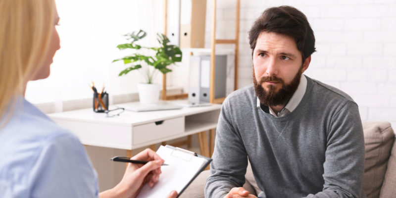 man talking with a therapist in What Is Individual Therapy