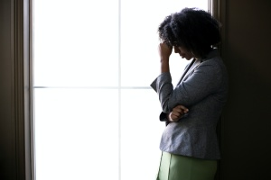 Silhouette of women worried about her loved one who had a drug overdose
