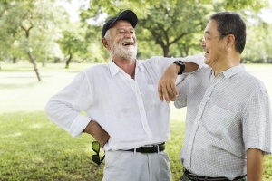 2 senior friends talking about a Outpatient Program