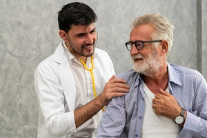patient visits doctor at the hospital after Inpatient Treatment